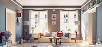 Vue d'un salon dans un appartement