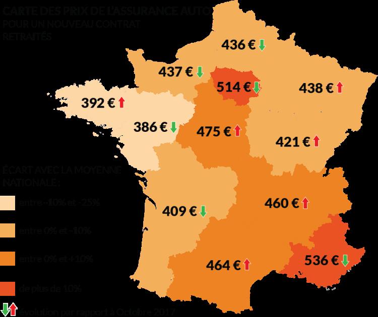 Carte de France des prix des nouveaux contras auto retraité