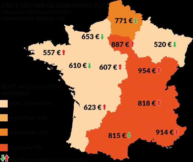 Carte de France des prix nouveaux contrats auto femmes bonus