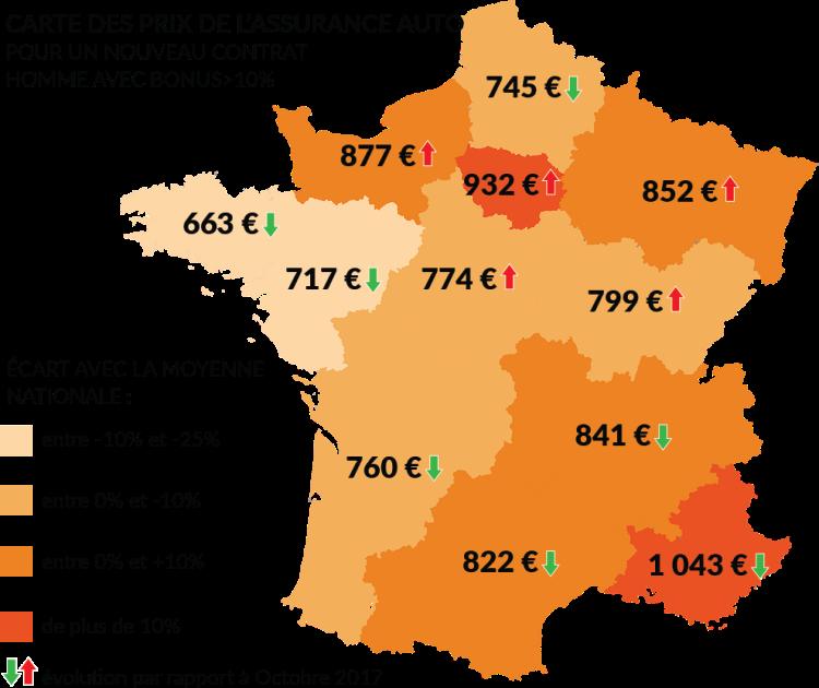 Carte de France des prix des nouveaux contrat auto homme bonus