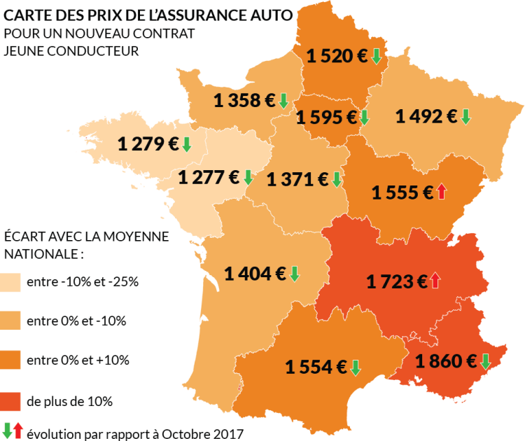 Carte de France des prix des nouveaux contrats auto jeunes conducteurs